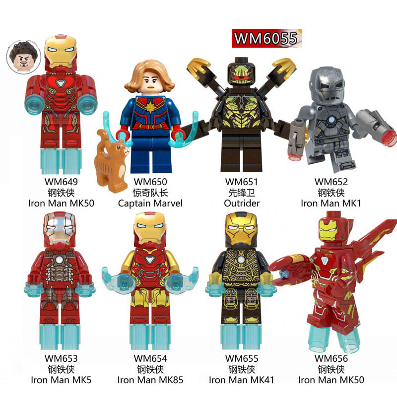 8pcs Set Captain Marvel Avengers 4 Super Heroes America Black Widow MK50 Character  Building Blocks Toys Children Gifts