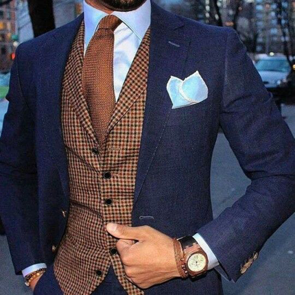 Men Suits Vintage Houndstooth Vest 3-Pieces Tuxedos Custom Made Plaid Tweed Vest Groom Groomsmen For Wedding (Blazer+vest+Pant)