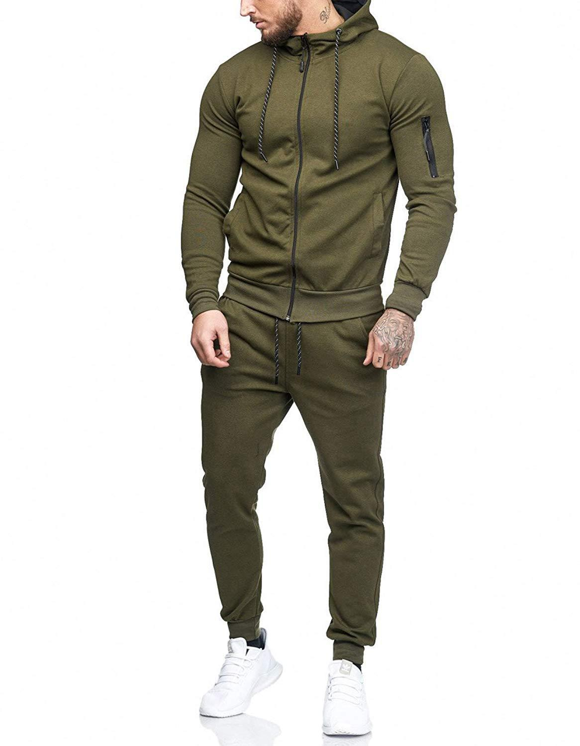 ZOGAA Zipper Tracksuit Men Set Sporting Two Pieces Sweatsuit Mens Clothes Printed Hooded Hoodies Jacket + Pants Track Suit Male