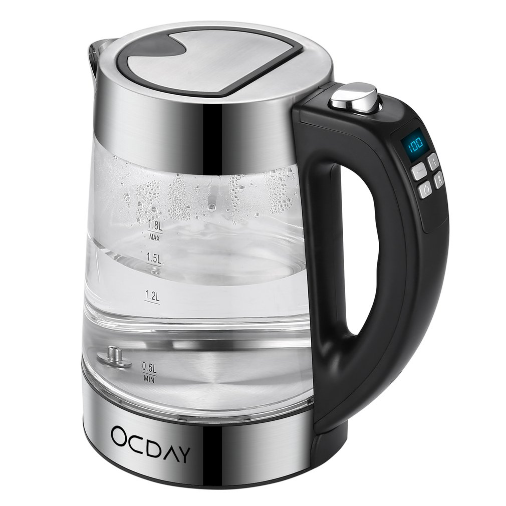OCDAY Temperature Control Glass Electric Kettle 1.8L Electronic Display Temperature Four Control Keys Stainless Steel Kettle