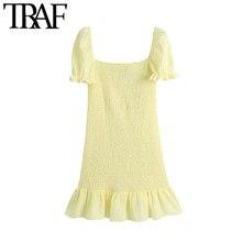 Traf Vrouwen Chic Fashion Gesmokte Elastische Ruffled Mini Jurk Vintage Bladerdeeg Mouw Met Voering Vrouwelijke Jurken Vestidos