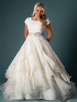 Vintage Lace Top Short Sleeves A Line Wedding Dresses Ribbon Ruffles Organza Bridal Gowns Plus Size Marriage Custom
