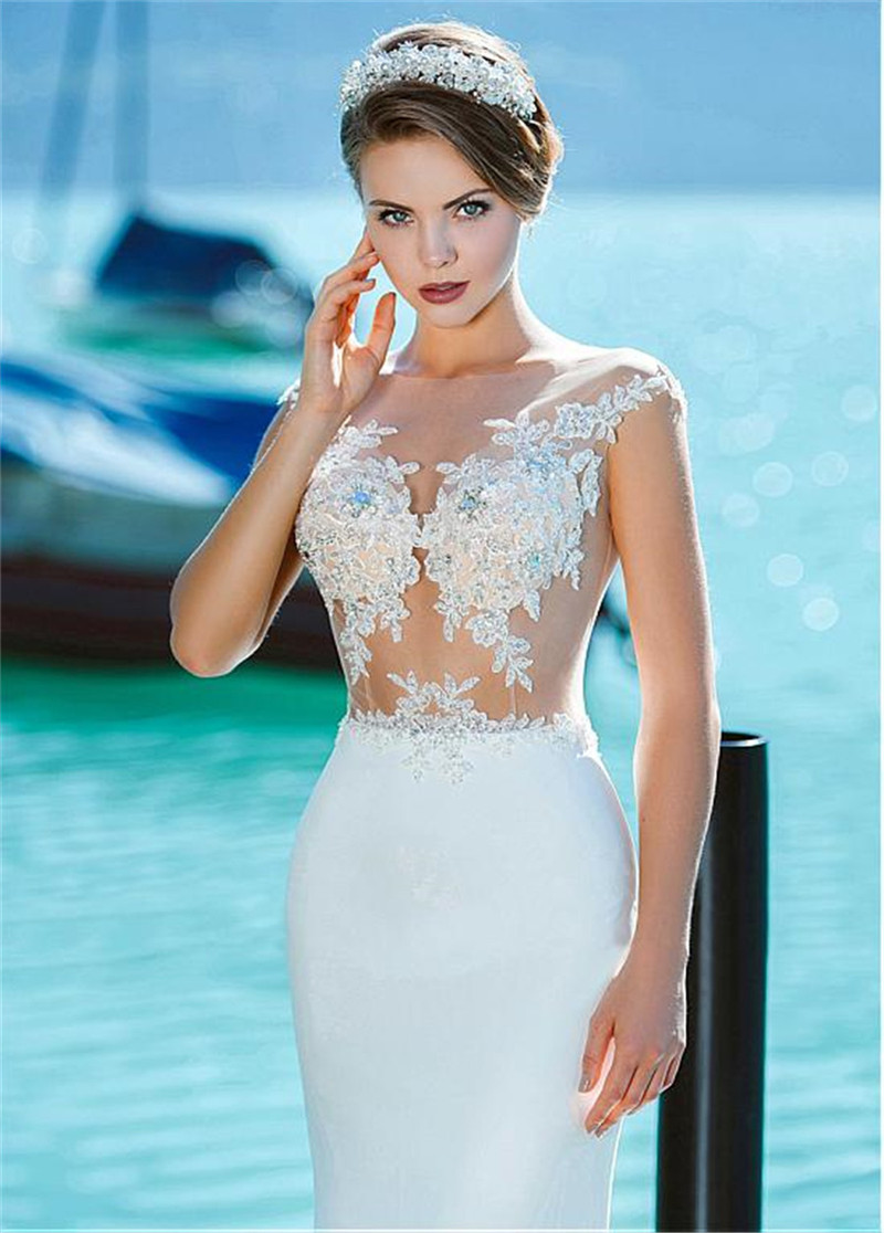 Sheer Scoop Neck Lace Appliques Mermaid Wedding Dresses Beaded Sleeveless Slim Fishtail Bridal Gowns Beach Chiffon Long Spring