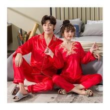 Suit Pyjamas-Set Sleepwear Couple Silk Women Man FZSLCYIYI And