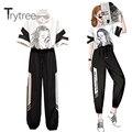 Trytree 2020 Sommer Frauen Zwei stück sets Casual Oansatz Lose T-shirt Top + Hosen Elastische Taille Jogginghose Mode 2 Stück set
