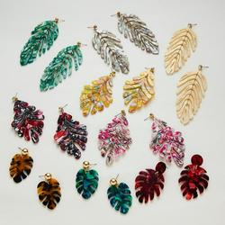 2020 New Irregular Leaves Acrylic Statement Long Drop Earrings Acetic Acid Resin Banana Leaf Earrings for Women Party Jewelry