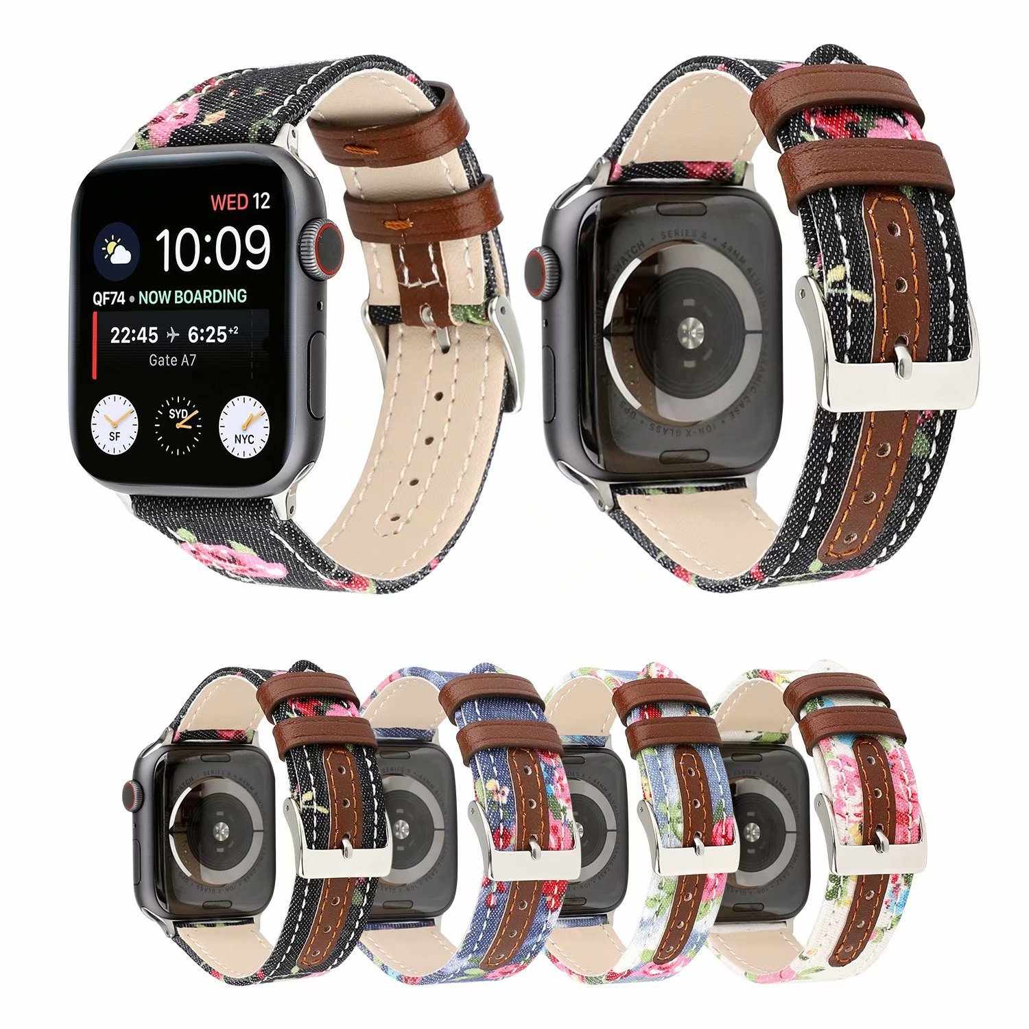 New Style Apple Watch Band Canvas Pattern Contrast Color Applicable APPLE Watch4 Genuine Leather Denim Decorative Pattern Watch