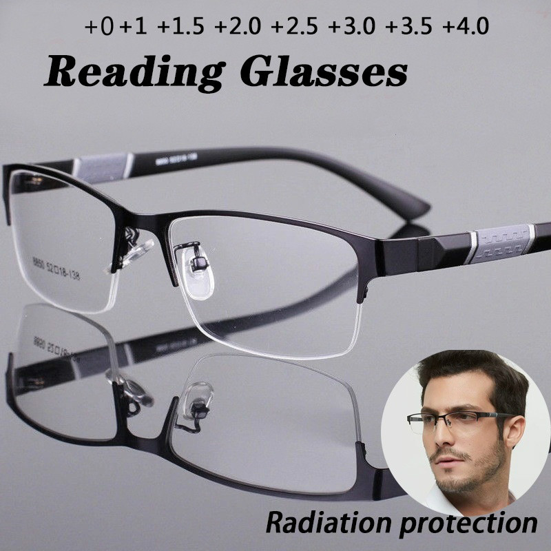 New Trend Reading Glasses Reading Glasses Men and Women High Quality Half Frame Diopters Business Office Men Reading Glasses