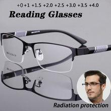 Nova tendência óculos de leitura óculos de leitura homens e mulheres alta qualidade metade do quadro diopters escritório de negócios homem óculos de leitura