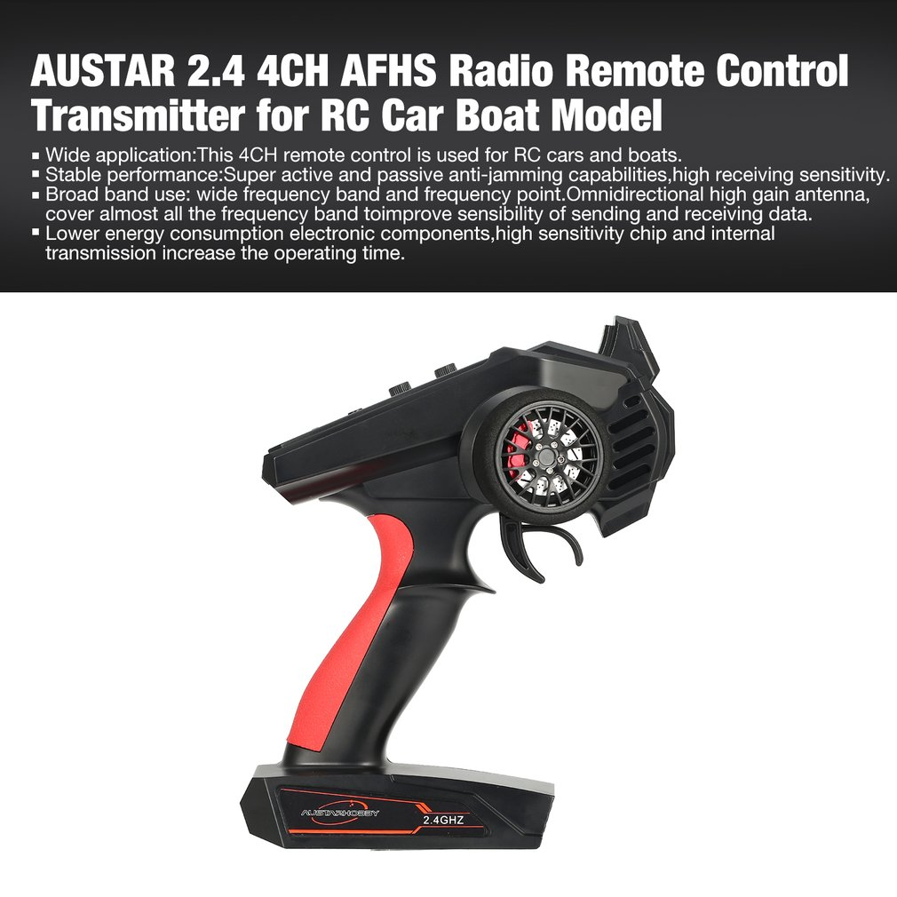 AUSTAR 2.4 4CH Radio Remote Control RC Transmitter for Car Off-road Vehicle Boat Truck Model Spare Parts Wide application