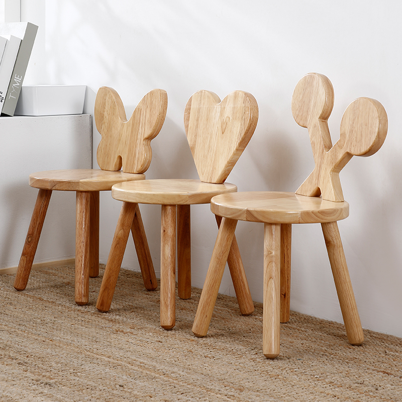 Small Stool Solid Wood Backrest Chair Solid Wood Small Stool Household Cartoon Stool For Shoes Stool Baby Chair Low Stool