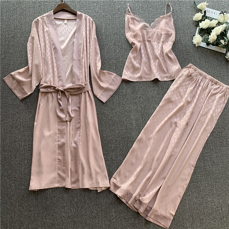 2020 Spring Women Satin Silk Pajamas Sets 3 Pieces Sleepwear Pijama Lace Spaghetti Strap Sleep Lounge Nightwear Pyjama