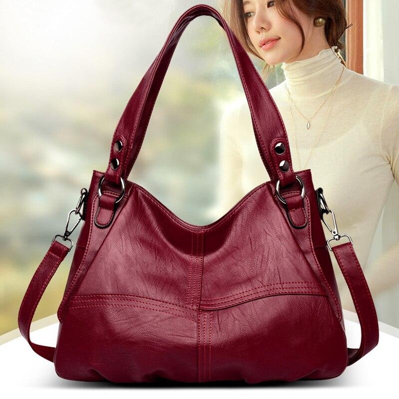 Handbags Women  Genuine Leather 2020 New Black Fashion Shoulder Bag For Women Pommax Big Capacity Crossbody Women Bag