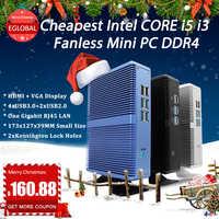 Eglobal Intel Core i7 i5 7200U i3 7100U Mini PC sans ventilateur Windows 10 Pro ordinateur Barebone DDR4/DDR3 2.4GHz 4K HTPC WiFi HDMI VGA