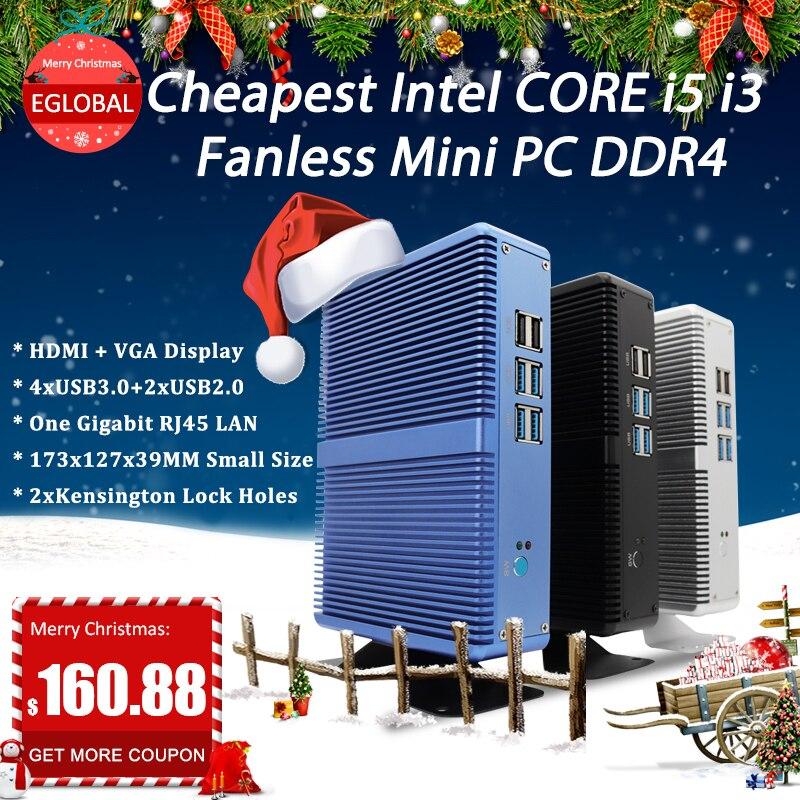 Eglobal Intel Core i7 i5 7200U i3 7100U sin ventilador Mini PC Windows 10 Pro Barebone ordenador DDR4/DDR3 de 2,4 GHz de 4K HTPC WiFi HDMI VGA