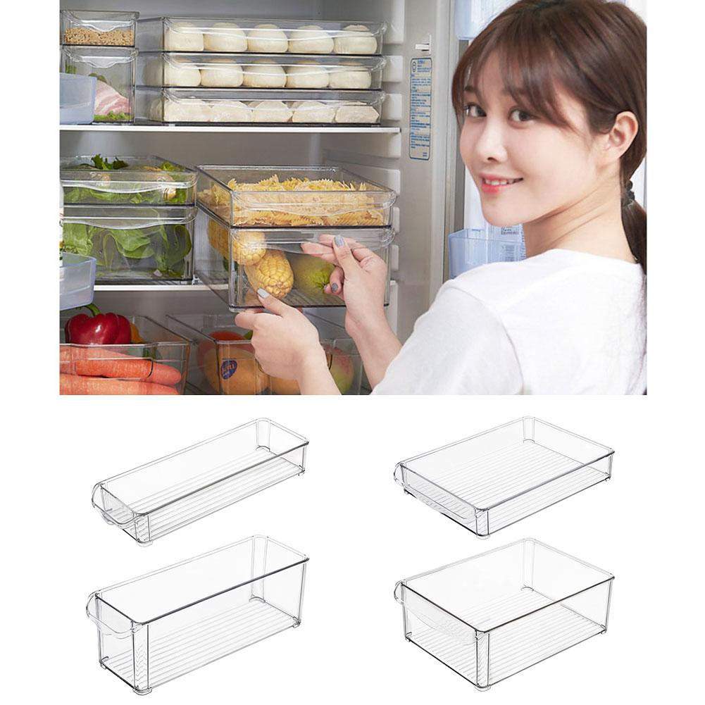 1PC Kitchen Refrigerator Storage Box Slide Plastic Freezer Fridges Space Saver Holder Food Drawer Container Organizer Rack Shelf