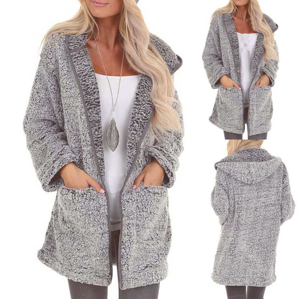 Plush Autumn Pocket Winter Long Sleeve Coat