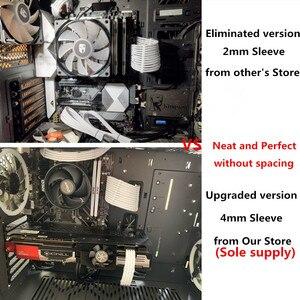 Image 2 - 180 학위 전체 화이트 4mm 애완 동물 기본 전원 확장 케이블 키트 1pcs ATX 24Pin 1pcs EPS 8Pin 2pcs PCI E 6 + 2Pin