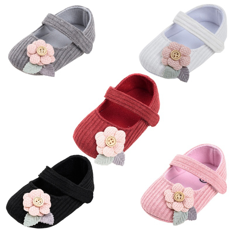 Baby Girl Cotton Sandals Baby Girl First Walkers Soft Sole Floral Decor Anti-slip Casual Shoes Toddler Toddler Shoes