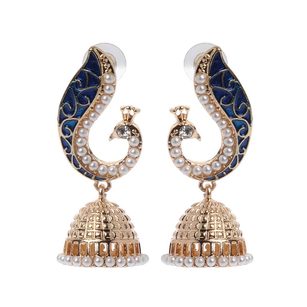Retro indyjski bollywood Kundan paw Jhumka Jhumki spadek kolczyki Gypsy biżuteria W2952001