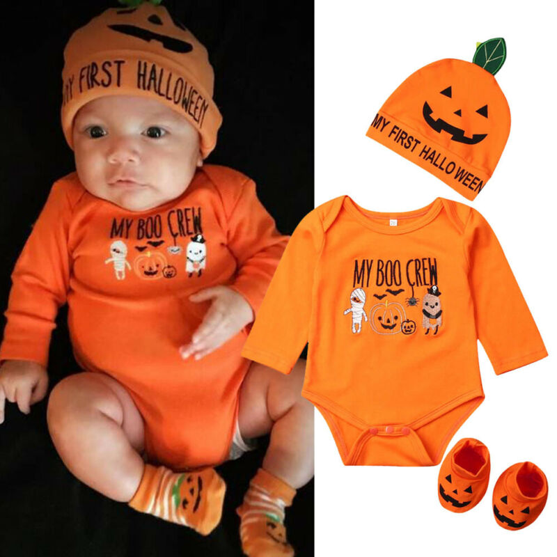 Newborn Baby   Romper   Halloween Costumes Boy Girl Clothes Pumpkin Body   Romper   Shoes Hat 3Pcs Clothes Outfit 0-18M My 1st Halloween