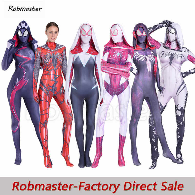 Vrouwen Spider Gwen Cosplay Zentai Anti-Gwenom Symbiont Venom Carnage Gwen Kostuums Halloween Party Stacy Bodysuit Jumpsuits
