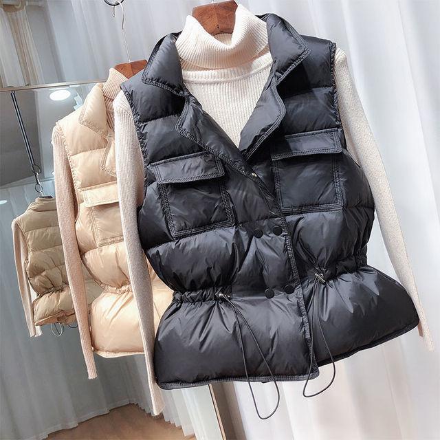 2021 New Ultra Light Down Vest Women Short Vest Windproof Lightweight Warm Waistcoat Female White Duck Down Down Coat Sleeveless 2