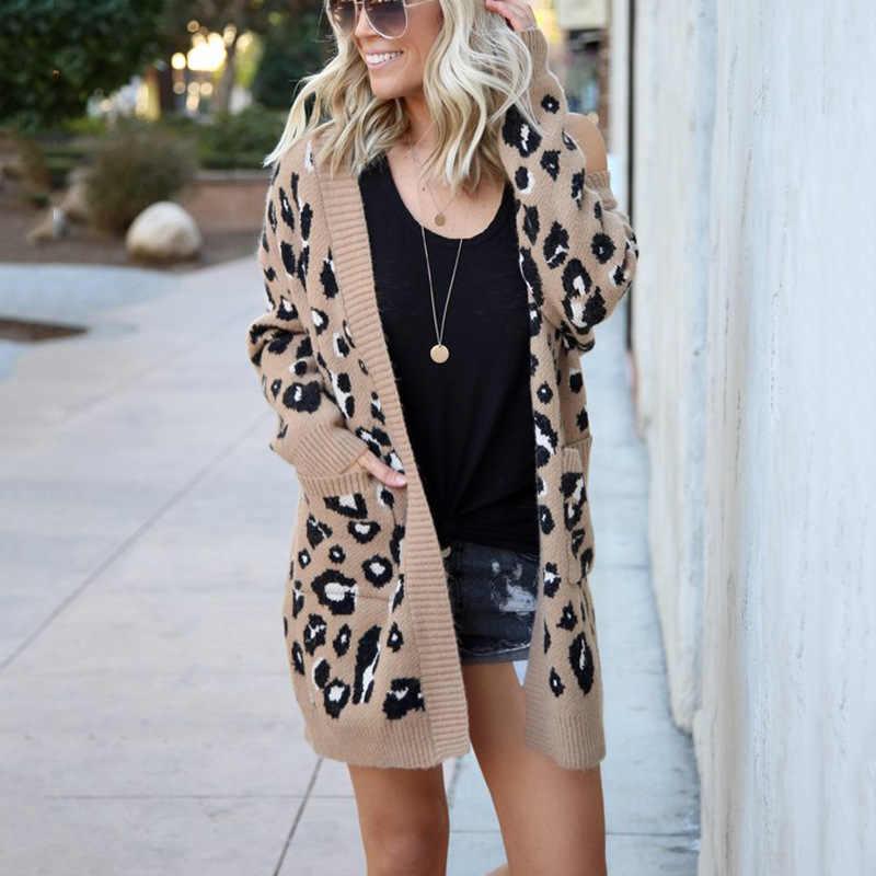 겨울 레오파드 인쇄 여성 느슨한 카디 건 소프트 스웨터 겉옷 캐주얼 니트 롱 코트 스웨터 카디건 여성 양모 스웨터