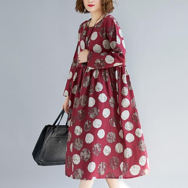 Cotton Linen Long Sleeve Autumn Dress Print Dot Loose Women Dress Plus Size Vintage Dress Female Spring Casual Midi Dress 5