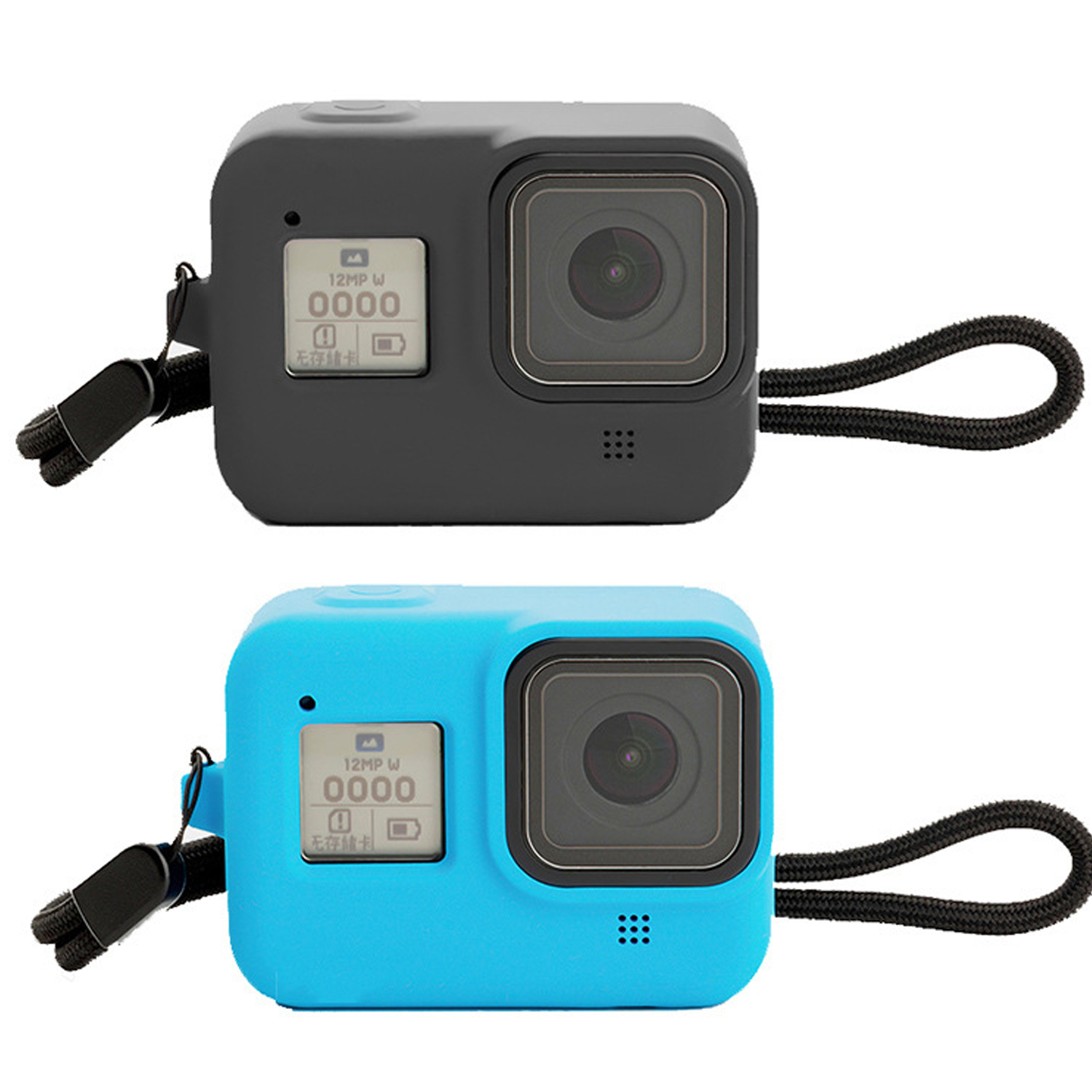 Gosear Portable Soft Silicone Protective Sleeve Frame Case Cover with Hand Strap for Gopro Hero 8 Action Camera Accessories