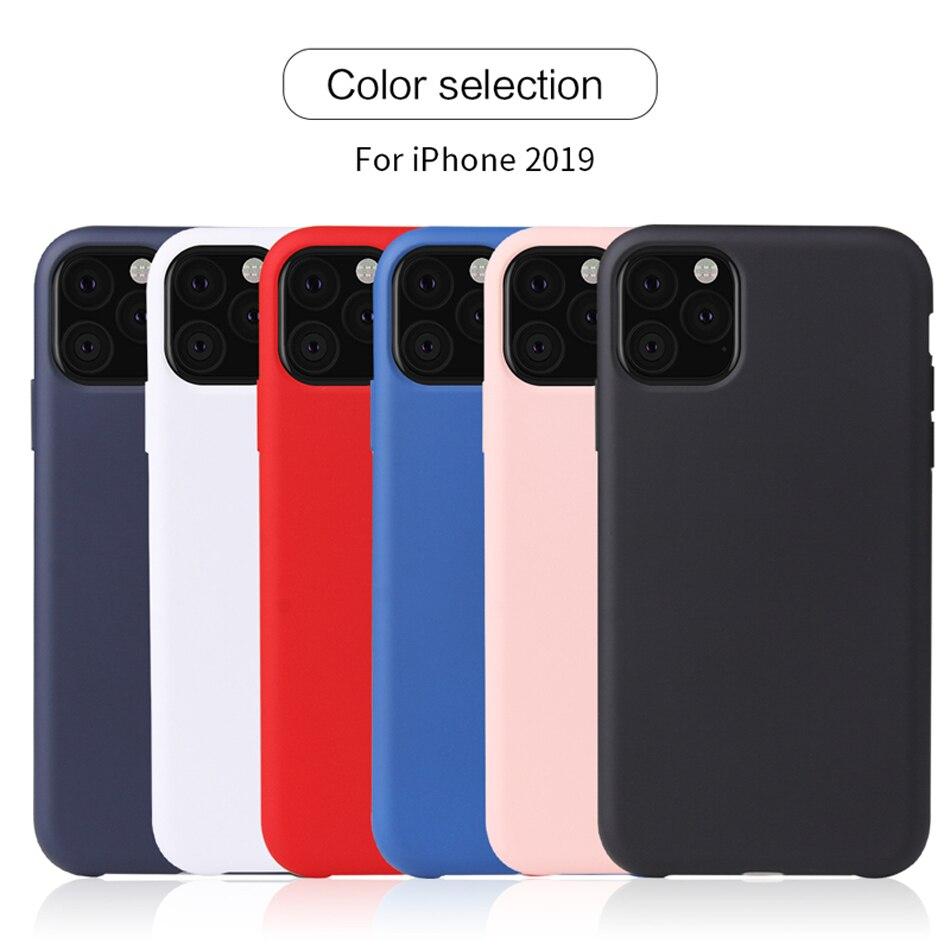 Caso fina e Macia Para iPhone Coque 11 2019 Líquido Original Capa de Silicone Doce Cor Capa Para iPhone 11 Pro Max 2019 Capinhas