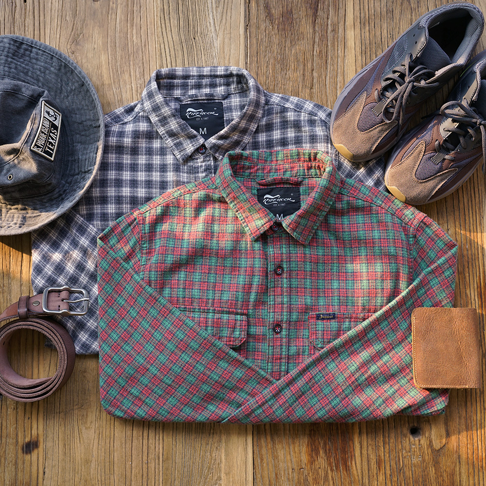 Men Spring And Autumn Fashion Brand Japan Style Vintage Flannel Plaid Cotton Long Sleeve Shirt Male Casual Loose Shirts Cloth