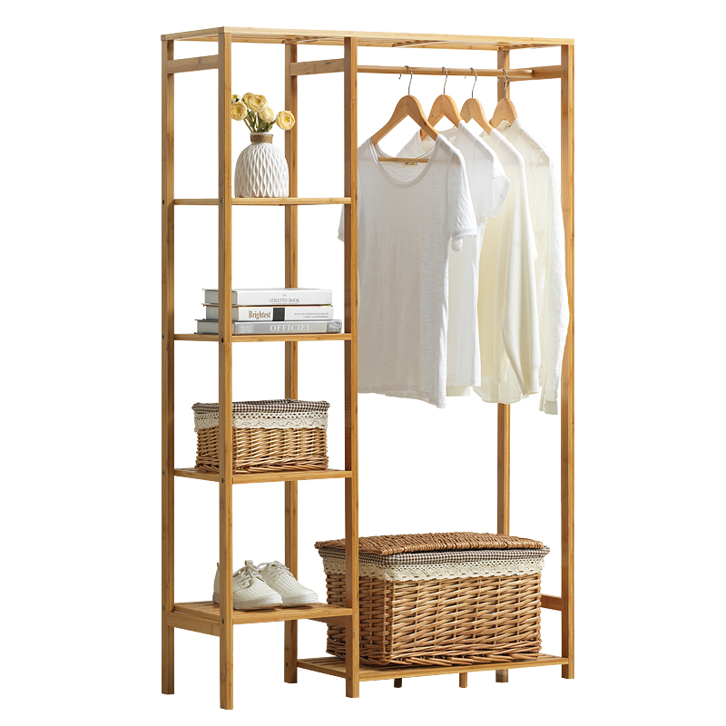 Minimalist Modern Bamboo Wardrobe Baby Locker Personal Closet Bedroom Furniture Storage Cubes Cabinet Dress Rack