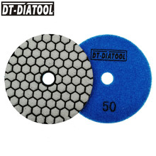 DT-DIATOOL 4pcs 100mm/4 Professional Grade A Dry Diamond Polishing Pads Flexible Resin Bond Sanding Discs Marble Granite Stone dt diatool 100mm 4 3 steps wet or dry premium high quality diamond polishing pads resin bond sanding discs for marble concrete
