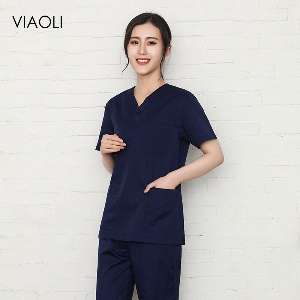 Solid Color Cotton Medical Scrubs Surgery Nurse Uniform For Women Medical Clothing Shirt Beauty Salon Work Wear Nursing Tops