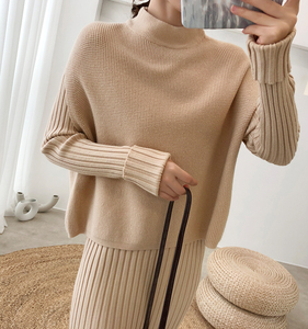 Image 5 - Knitting Female Sweater Suit For Women Two Piece Set Knitted Pullover  Elegant Knitting Clothing Suit