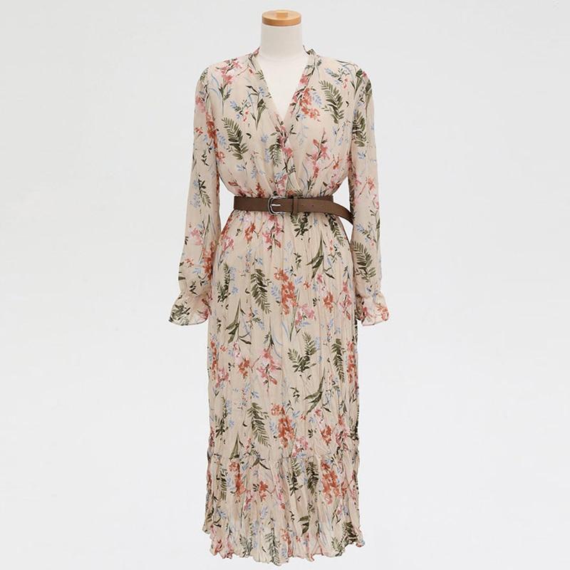 Flectit Vintage Women Floral Dress With Belt Long Sleeve V Neck Airy Chiffon Feminine Dress Fall Spring 2020 * 5