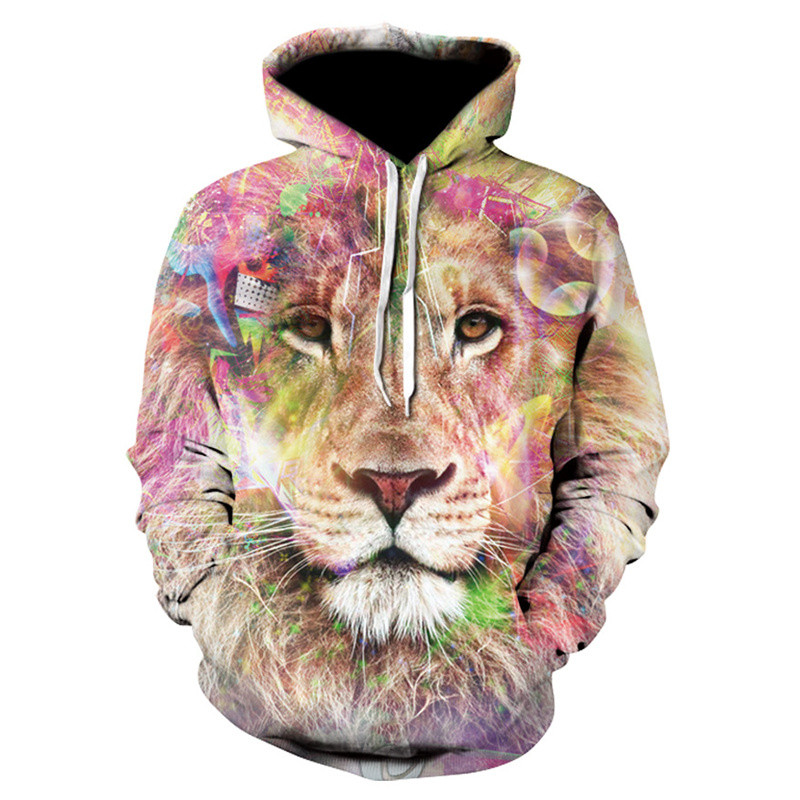 Fashion New Men Cool Lion Hoodies Casual Long Sleeve Pullovers Tops Autumn Winter 3D Print Sweatshirts for Male