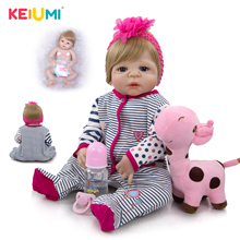 KEIUMI Volle Körper Silikon Vinyl Reborn Babys Puppen Realistische 23 zoll Neue Geboren Baby tragen Streifen Strampler bebe Bonecas Rebron geschenk