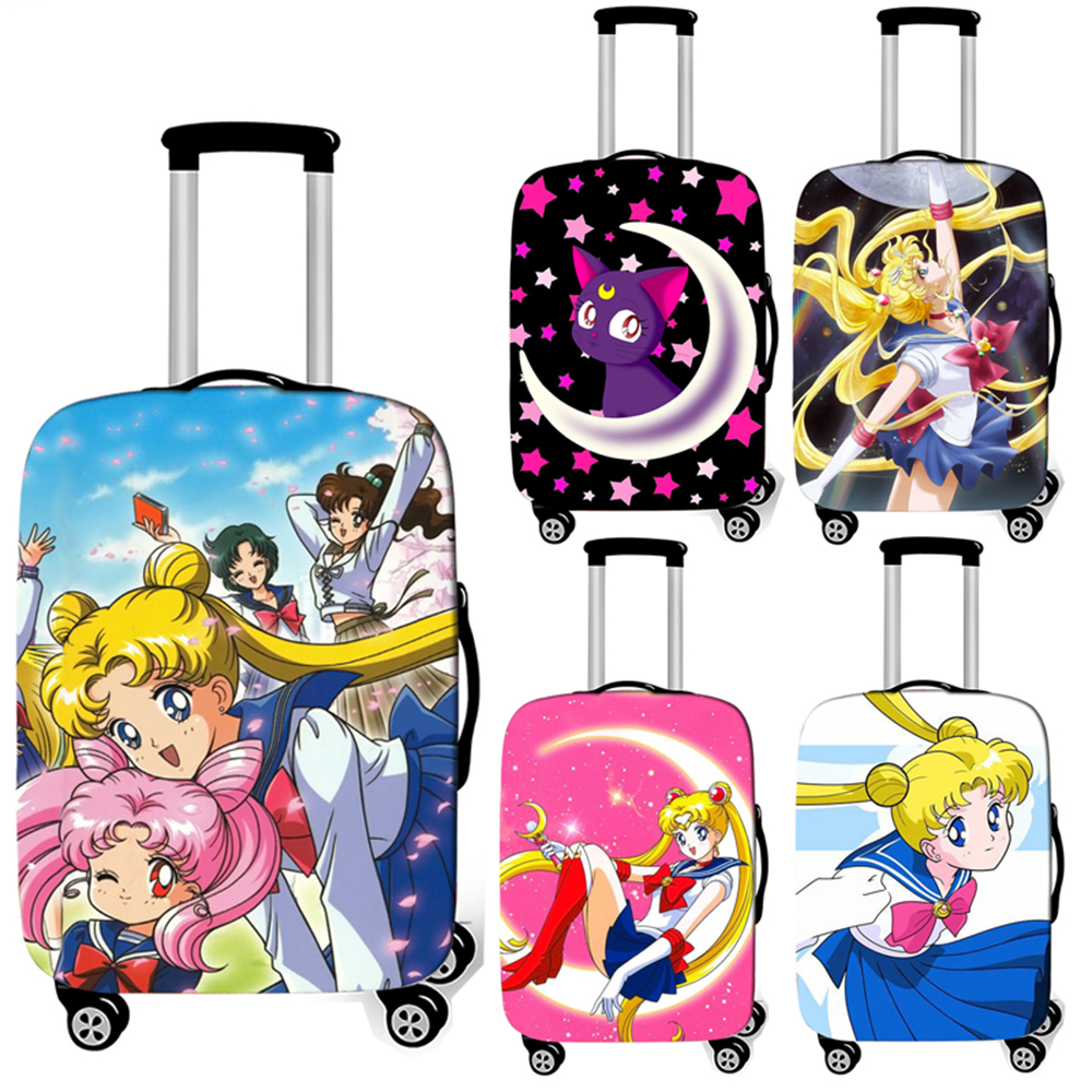 Anime Sailor Moon Luna Luggage Cover Cartoon Girl Suitcase Protective Covers Anit-dust Baggage Trolley Case Cover For Travelling