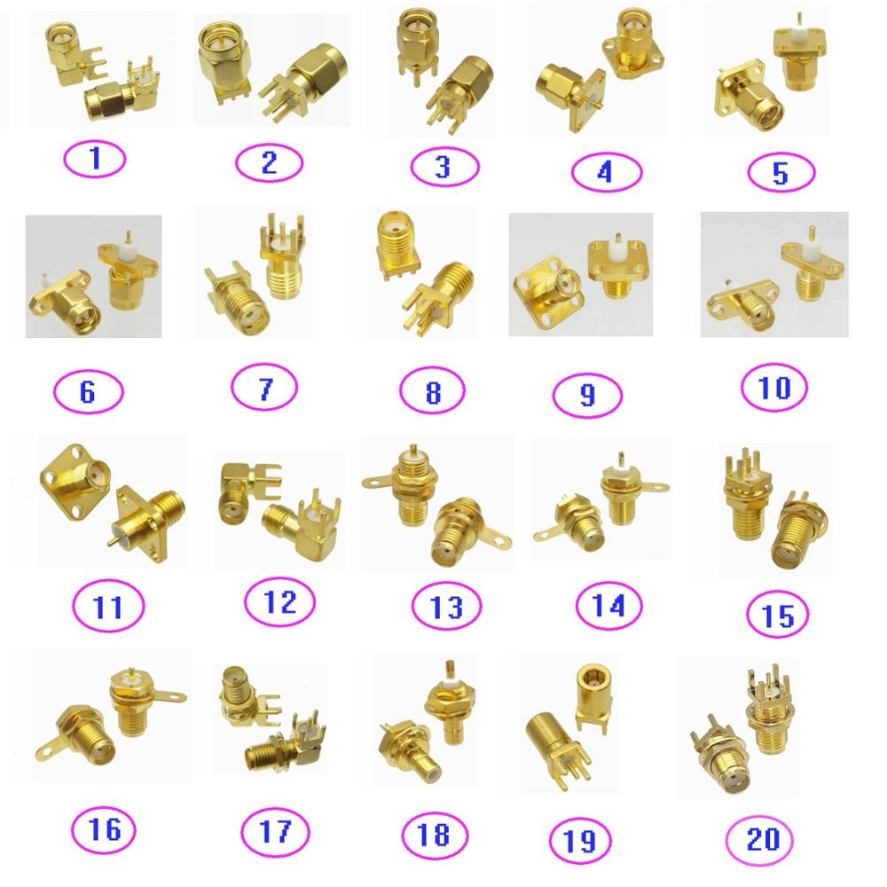 Connector SMA / SMB Male Plug & Female Jack Solder PCB Mount & Flange PTFE Mount & Bulkhead Nut Mount RF Coaxial