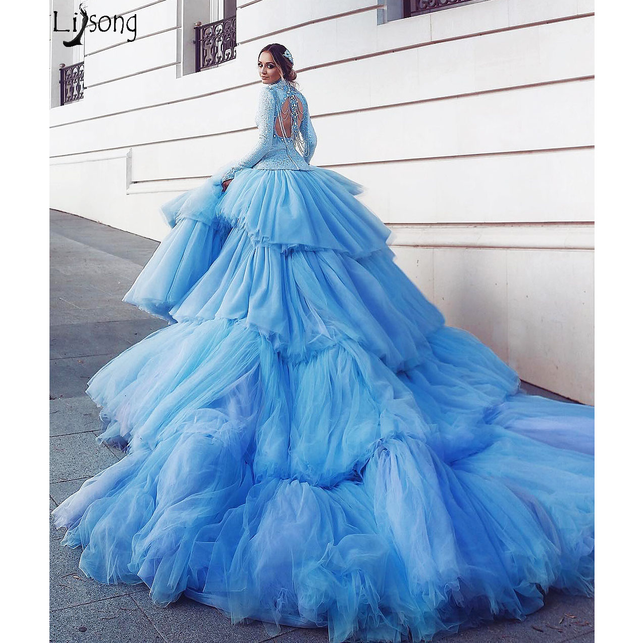 Amazing Blue Evening Dress 2020 Luxury Tiered Long Train Extra Puffy Tulle Prom Dresses Long Sleeve High Neck Lace Formal Gown