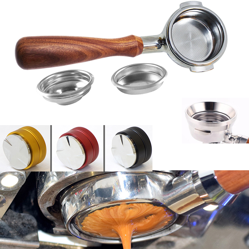 Espresso 304 Stainless Steel Coffee Machine Handle Bottomelss Naked Portafilter 51MM - 58MM Apply To E61 Punching Head