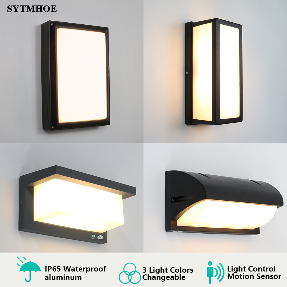 Ip65 Modern Led Porch Light 3 Light Colors Changeable Outdoor Wall Light Motion Sensor Radar Porch Lamp Sconce Sytmhoe 10W 20W