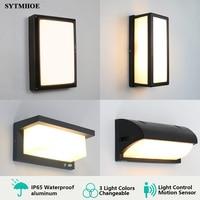 Ip65 Moderne Led Veranda Licht 3 Licht Farben Veränderbar Outdoor Wand Licht Motion Sensor Radar Veranda Lampe Leuchte Sytmhoe 12W/24W