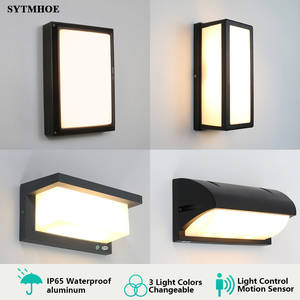 Ip65 Modern Led Porch Light 3 Light Colors Changeable Outdoor Wall Light Motion Sensor Radar Porch Lamp Sconce Sytmhoe 10W/20W