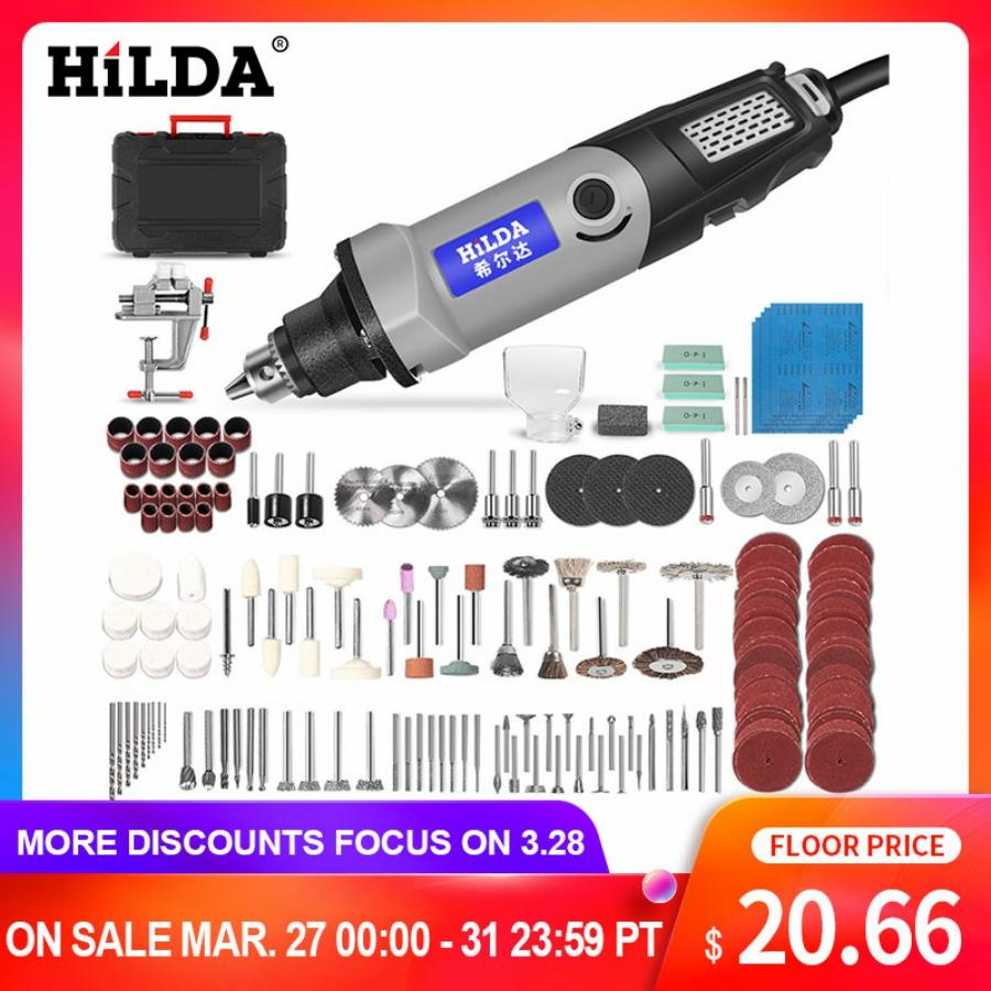 HILDA Electric Drill Mini Engraver Rotary Tool 400W Mini Drill 6 Position For Dremel Rotary Tools Mini Grinding Machine