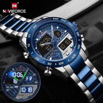 NAVIFORCE luksusowej marki męska Wrist Watch wojskowe cyfrowe zegarki sportowe dla człowieka stalowy pasek kwarcowy zegar mężczyzna Relogio Masculino tanie i dobre opinie 24cm Luxury ru QUARTZ Podwójne wyświetlanie 3Bar Składane bezpieczne zapięcie CN (pochodzenie) STOP 17 5mm Hardlex