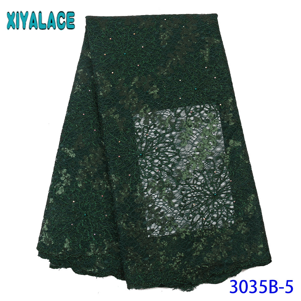 African Organza Lace Fabric 2019 High Quality Lace French Tulle Lace With Sequins Beaded Lace Fabric For Asoebi Dresses KS3035B