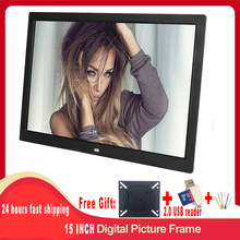 Free shipping 15 Inch 1280 x 800 / 16:9 LED Widescreen Suspensibility Digital Photo Frame with Holder& remote control